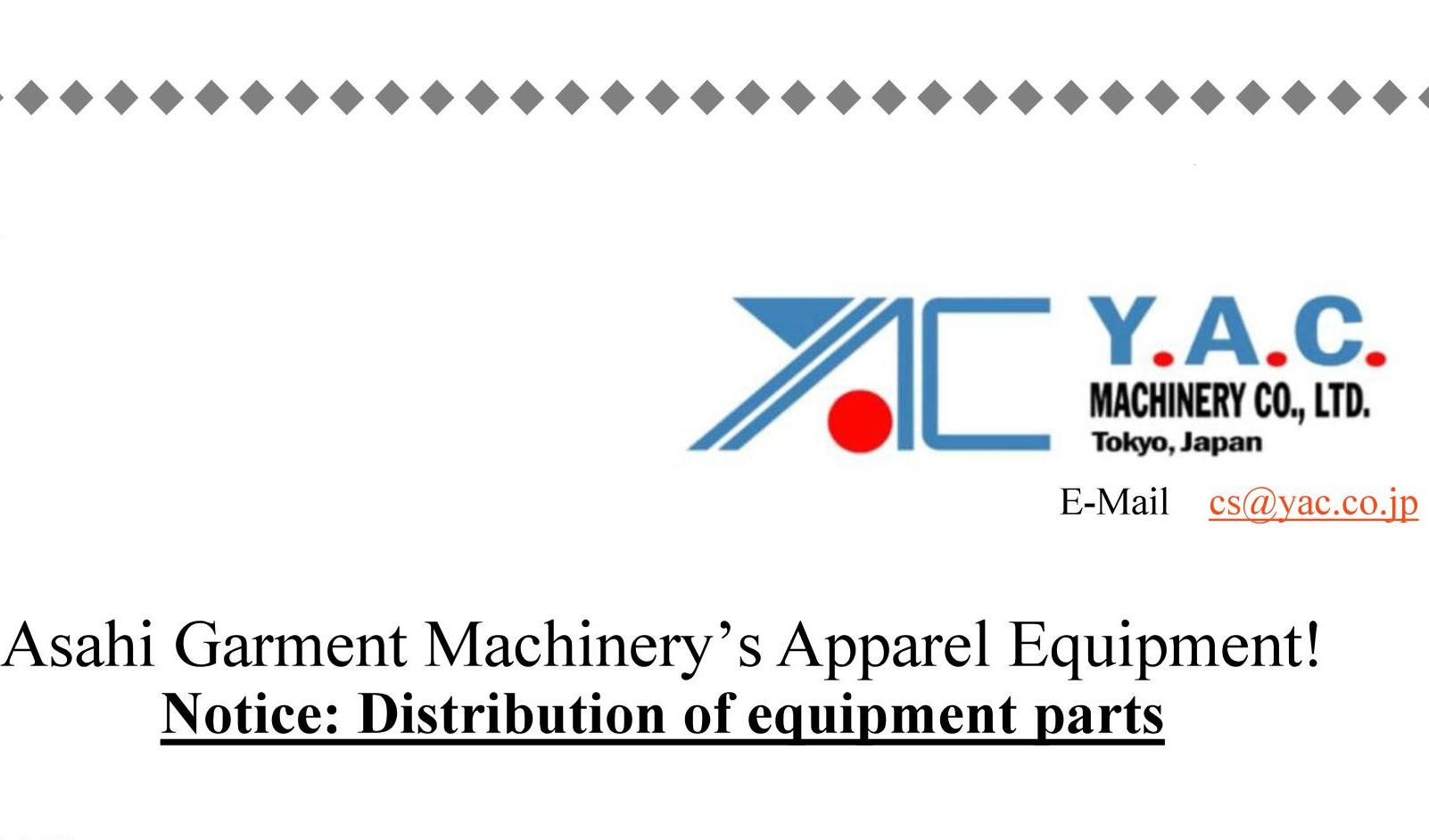 Notice: Distribution of equipment parts